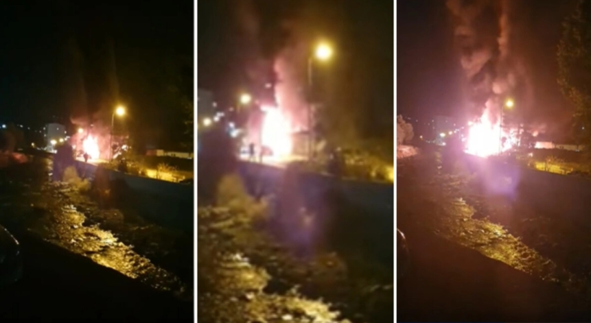Се појави нова снимка од страотниот пожар во модуларната болница во Тетово: Се слушаат експлозии, крици…