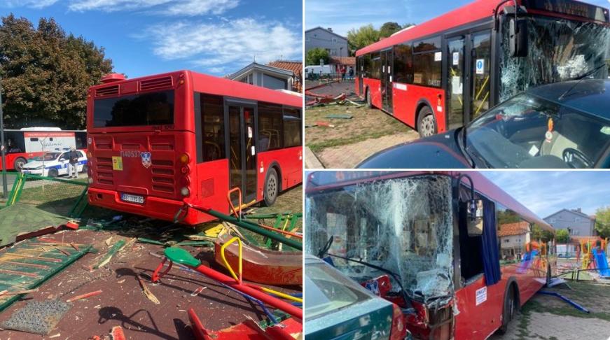 СТРАШНА НЕСРЕЌА: Градски автобус влета во детско игралиште, има повредени деца, страшна сообраќајка во Земун